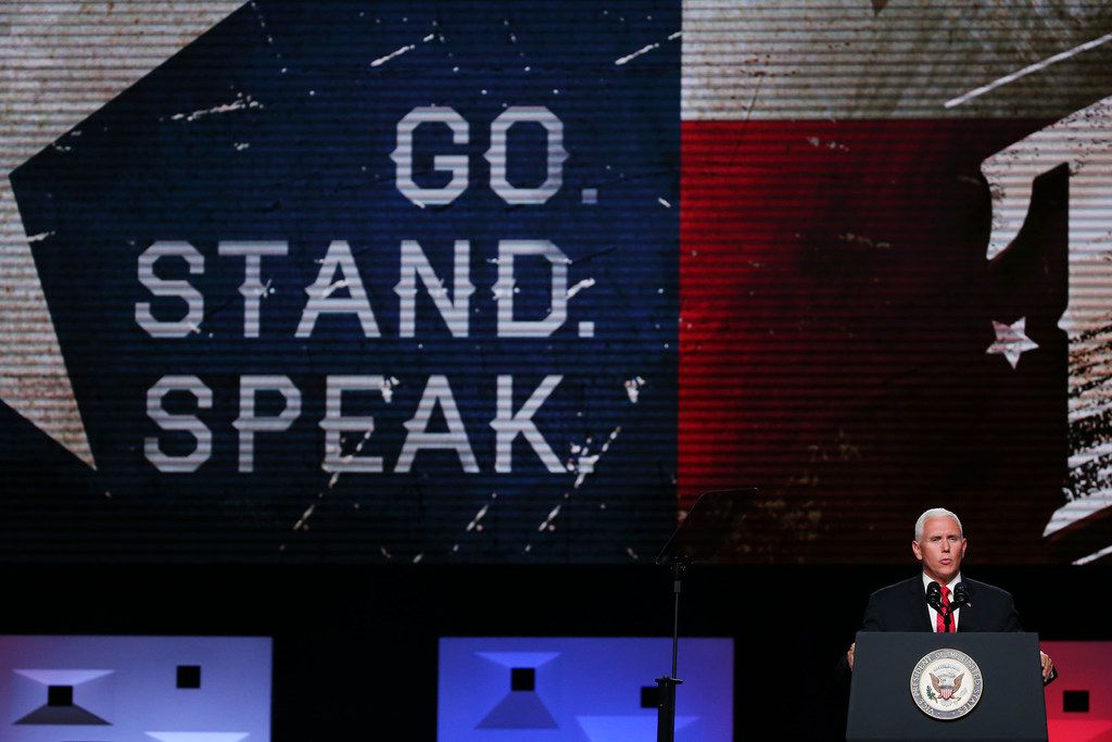 """""""While strong American leadership can accomplish much, the fervent prayers of a righteous people can do so much more,"""" Vice President Mike Pence told Baptist messengers gathered in Dallas Wednesday."""