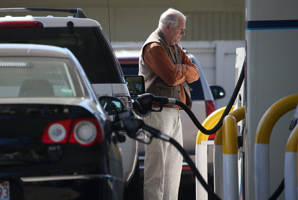 MILL VALLEY, CA - MARCH 03:  A customer pumps gasoline into his car at an Arco gas station on March 3, 2015 in Mill Valley, California. U.S. gas prices have surged an average of 39 cents in the past 35 days as a result of the price of crude oil prices increases, scheduled seasonal refinery maintenance beginning and a labor dispute at a Tesoro refinery. It is predicted that the price of gas will continue to rise through March.  (Photo by Justin Sullivan/Getty Images) 03142015xBIZ