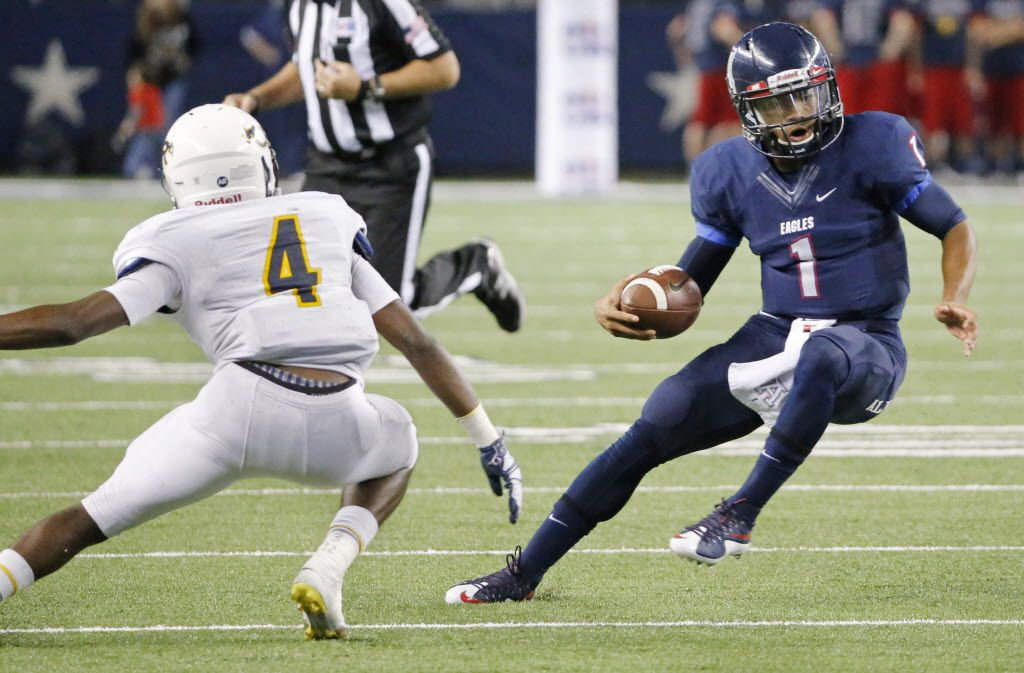 Allen quarterback Kyler Murray (1) scrambles away from Cypress Ranch's Mark Bruno (4)  in the fourth quarter during the 6A-I state championship game  between Allen High School Eagles and the Cypress Ranch High School Mustangs at AT&T Stadium in Arlington on Saturday, December 20, 2014.  (Louis DeLuca/The Dallas Morning News)