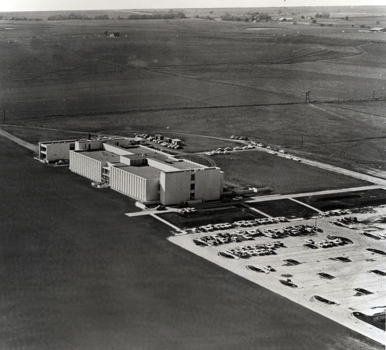 Collin and Dallas County farmlands surround the first facility on campus, the Founders Building, which opened in early 1964. The institution was the Graduate Research Center of the Southwest at that time.