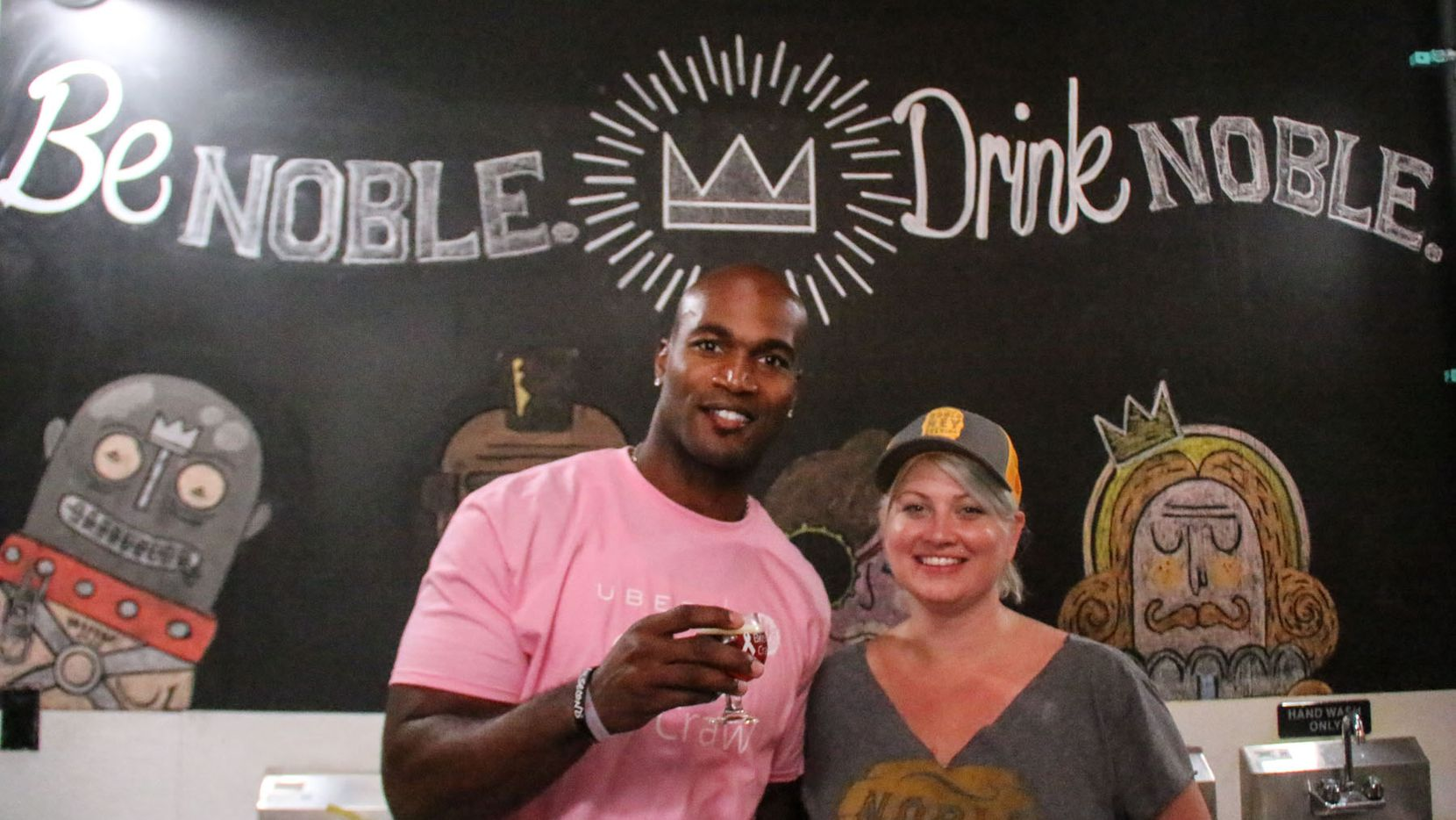 Bradie James posed with Michelle Carrow at Noble Rey Brewing Co during the Innaugural Brew Crawl for Breast Cancer put on by Dallas Brew Scene with proceeds benefitting former Dallas Cowboys Bradie James Foundation 56.