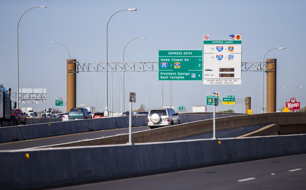 Motorists drive west on LBJ Freeway at one entrance to the TEXpress toll lanes. Although payment for TEXpress lanes goes through NTTA, the tollway authority is not responsible for TEXpress roads.