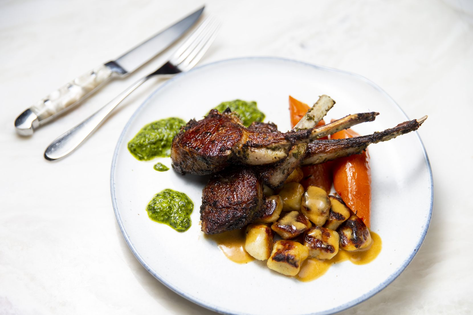 Lamb chops photographed at Tulum restaurant in Dallas