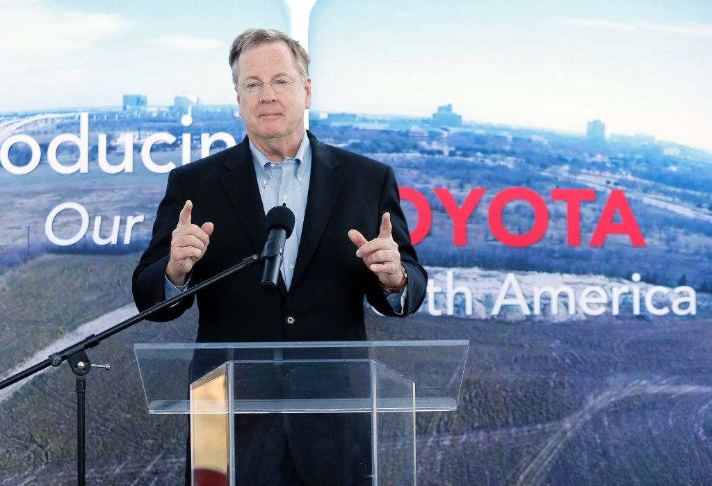 Michael Groff, President and CEO of Toyota Financial Services, talks to employees during a celebration at the new Toyota North American headquarters in Plano on Monday, May 15, 2017. This is the day the first wave of employees reported to the new facility.