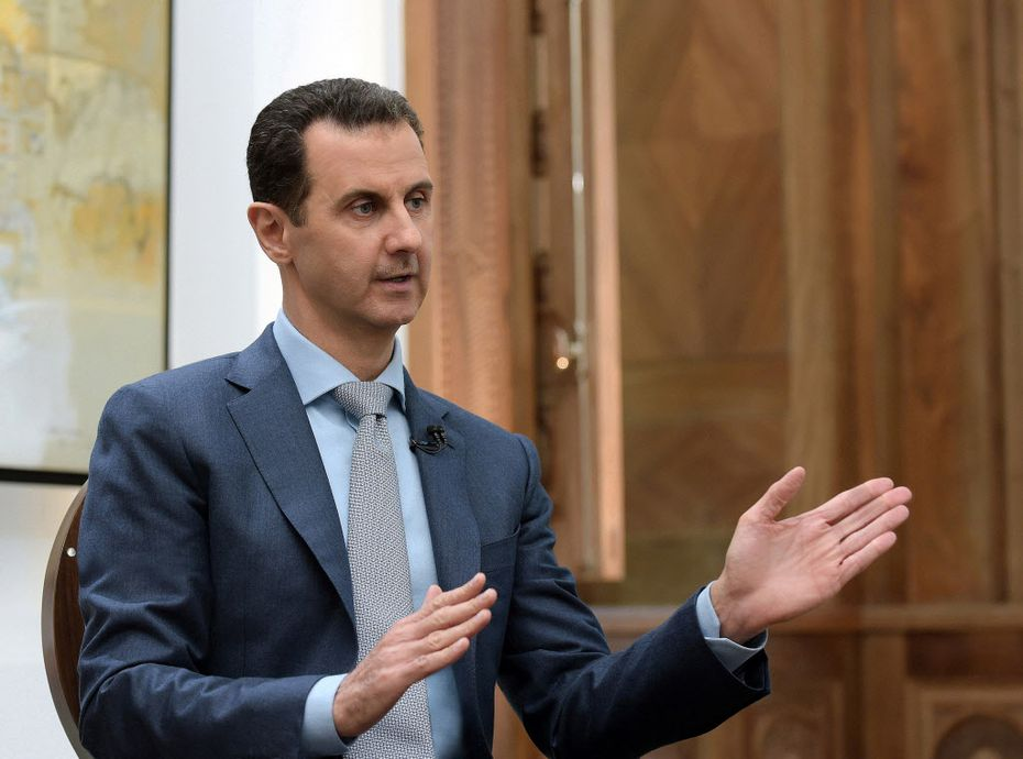 Syrian President Bashar al-Assad in Damascus, Syria, on February 10, 2017. Assad recently appeared to be in his strongest position in years, but a suspected chemical changes everything. (Salampix/Abaca Press/TNS)