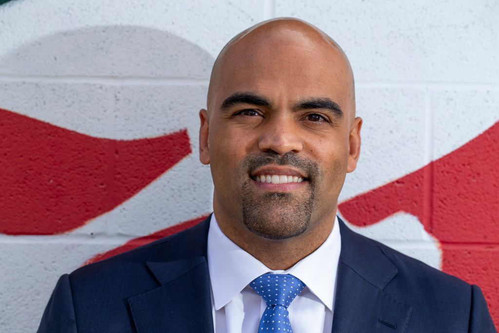 Candidate for US Congress, Colin Allred, poses for a photo at his alma mater, Hillcrest high school, in Dallas on Thursday, October 18, 2018.