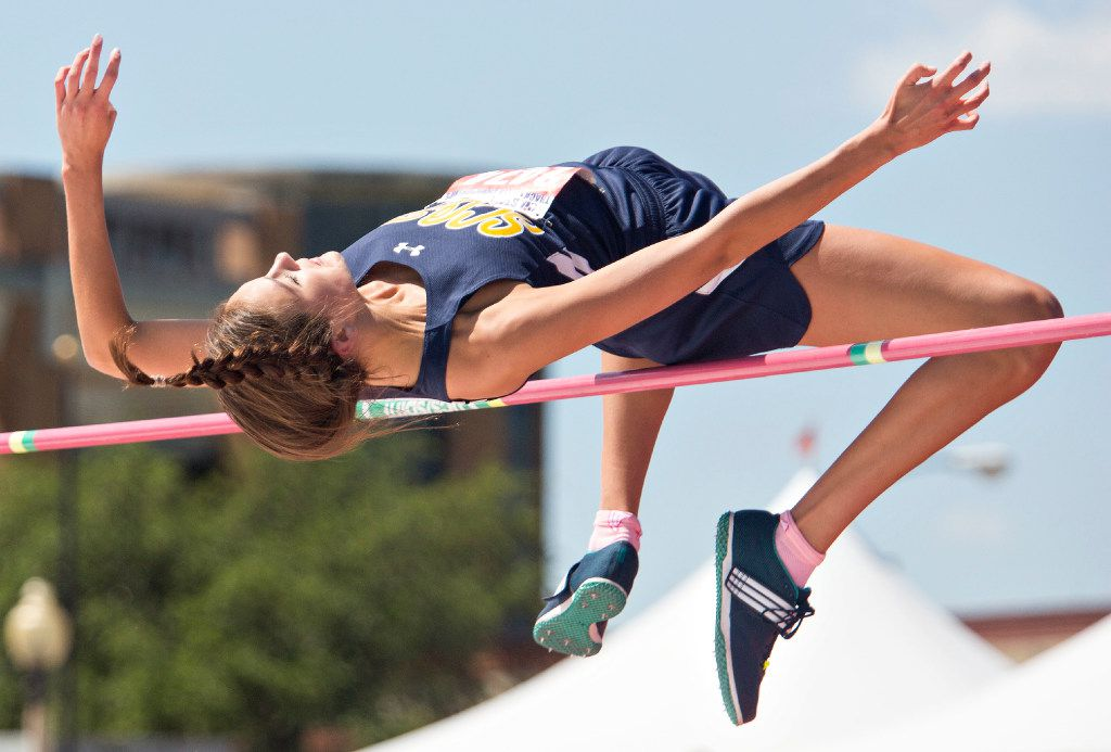 Highland Park's Falyn Reaugh (2474) takes a jump during the 5A Girls High Jump during the UIL state track meet at the Mike A. Myers Stadium, at the University of Texas on May 12, 2017 in Austin, Texas. (Thao Nguyen/Special Contributor)