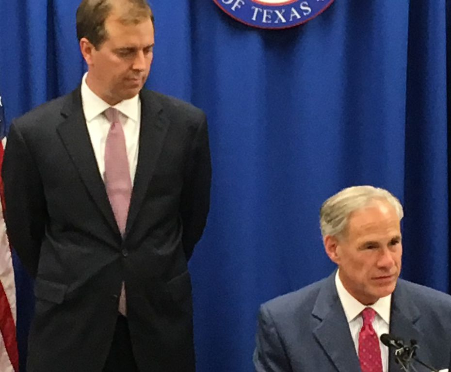 Jimmy Blacklock, Gov. Greg Abbott's choice for a vacant seat on the Texas Supreme Court, appeared with the governor at a Nov. 27 press conference at Republican Party of Texas headquarters in Austin. (Staff/File)