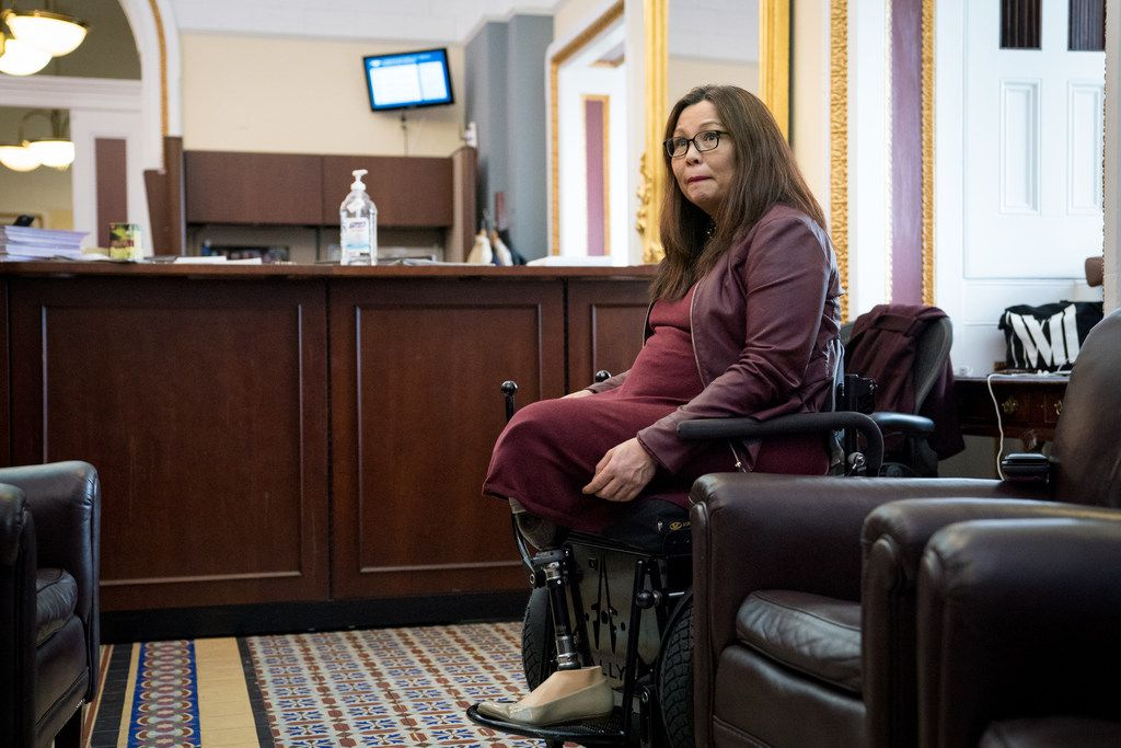 Sen. Tammy Duckworth, D-Ill., talks to reporters on Capitol Hill on March 20. Duckworth gave birth to a daughter, Maile Pearl Bowlsbey, on April 9, making her the first U.S. senator to give birth while in office, she said in a prepared statement.