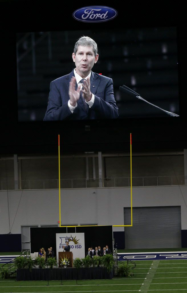Superintendent Jeremy Lyon addresses Frisco ISD's faculty and staff gathered at the Ford Center at The Star for the district's annual convocation before the start of the school year.