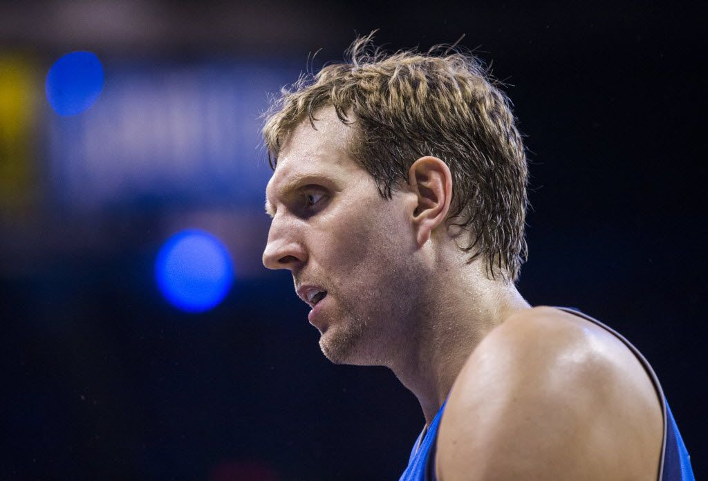 Dallas Mavericks forward Dirk Nowitzki (41) walks to the bench during the third quarter of game 5 of their series against the Oklahoma City Thunder in the first round of NBA playoffs on Monday, April 25, 2016 at Chesapeake Energy Arena in Oklahoma City, Oklahoma.  (Ashley Landis/The Dallas Morning News)