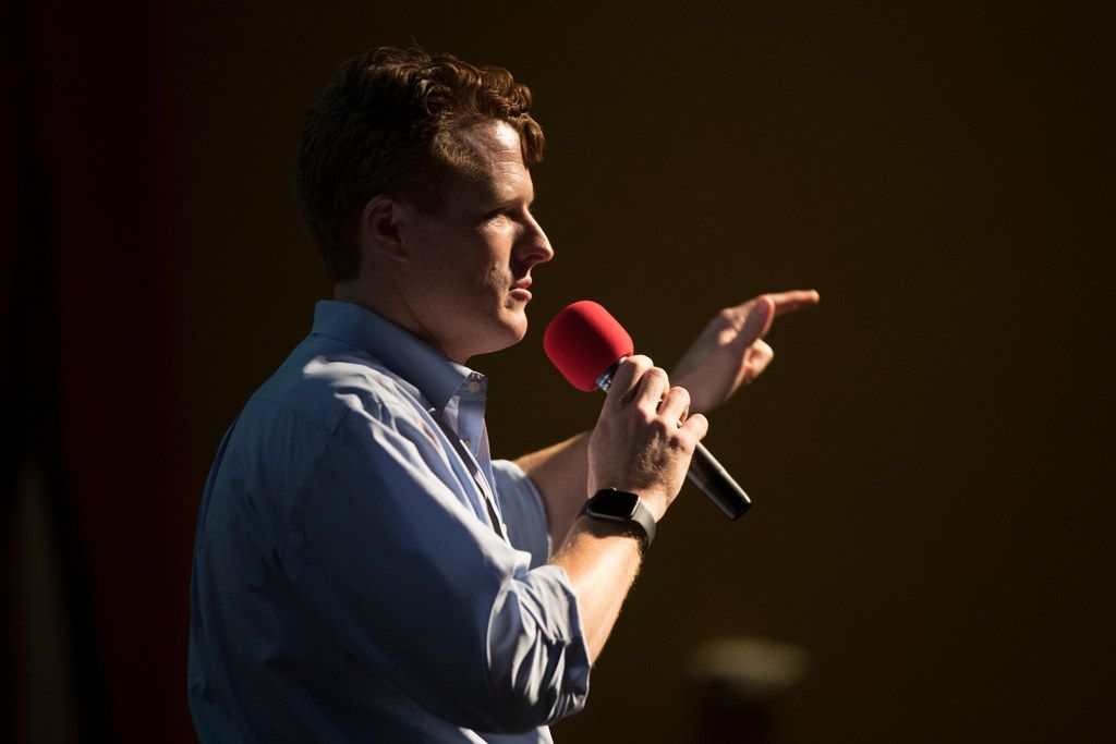 U.S. Rep. Joe Kennedy III speaks during a Beto O'Rourke campaign event on Saturday, Oct. 13, 2018 at Del Mar College in Corpus Christi, Texas.  O'Rourke is running against Republican Sen. Ted Cruz for his senate seat.  (Casey Jackson/Corpus Christi Caller-Times via AP)