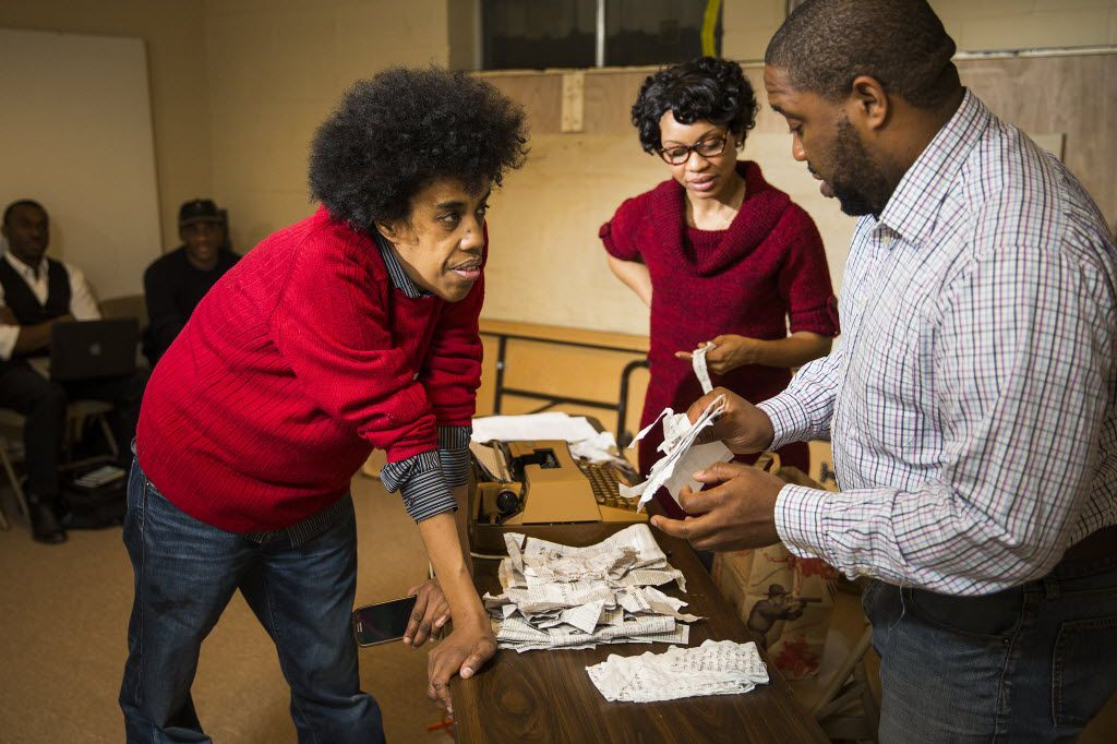 "Playwright Jonathan Norton (left) and director Derrick Sanders (right) work with Kenneisha Thompson, who plays Willie Pearl Mackey, during a  rehearsal for the play The 67th Book of the Bible at the Dallas Institute of Humanities and Culture in January 2015. The work by Norton is an original play about the story behind the Rev. Martin Luther King Jr.'s ""Letter from a Birmingham Jail."""
