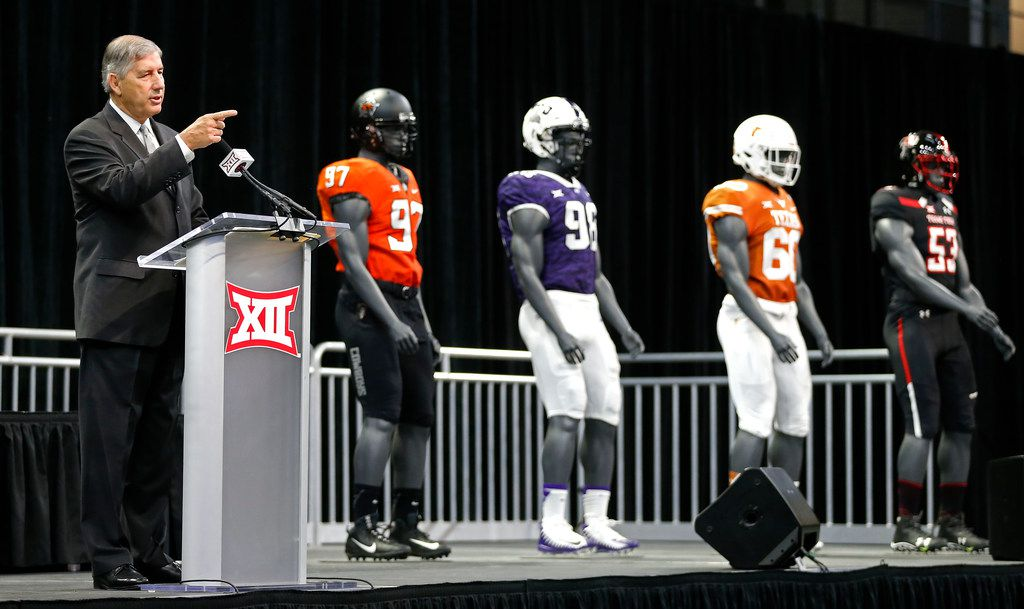 FILE - Commissioner Bob Bowlsby speaks during a press conference at Big 12 Media Day at Ford Center at The Star in Frisco, Texas, Monday, July 16, 2018. (Jae S. Lee/The Dallas Morning News)