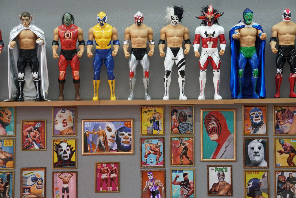 The customers love all the wrestling paraphernalia Maskaras Mexican Grill in Dallas, Texas on Friday, December 17, 2016. The owner Rodolfo Jimenez has been a collector since his childhood. Now he adorns the walls of his newly opened restaurant with some of his most prized pieces.
