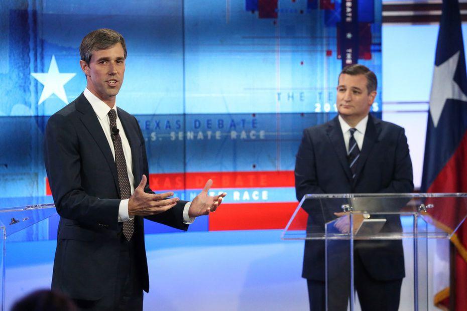 U.S. Rep. Beto O'Rourke (left), D-El Paso, and U.S. Sen. Ted Cruz, R-Texas, debated Oct. 16 in San Antonio.