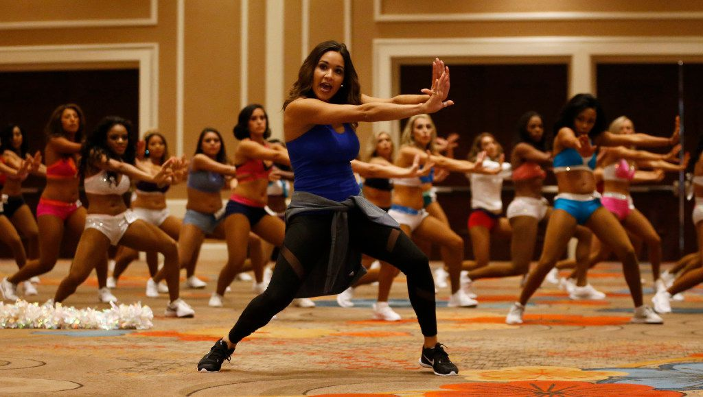 Dancers learn a routine taught by Elise Barrett during Dallas Mavericks Dancers auditions at the Hilton Anatole in Dallas on Saturday, July 15, 2017.