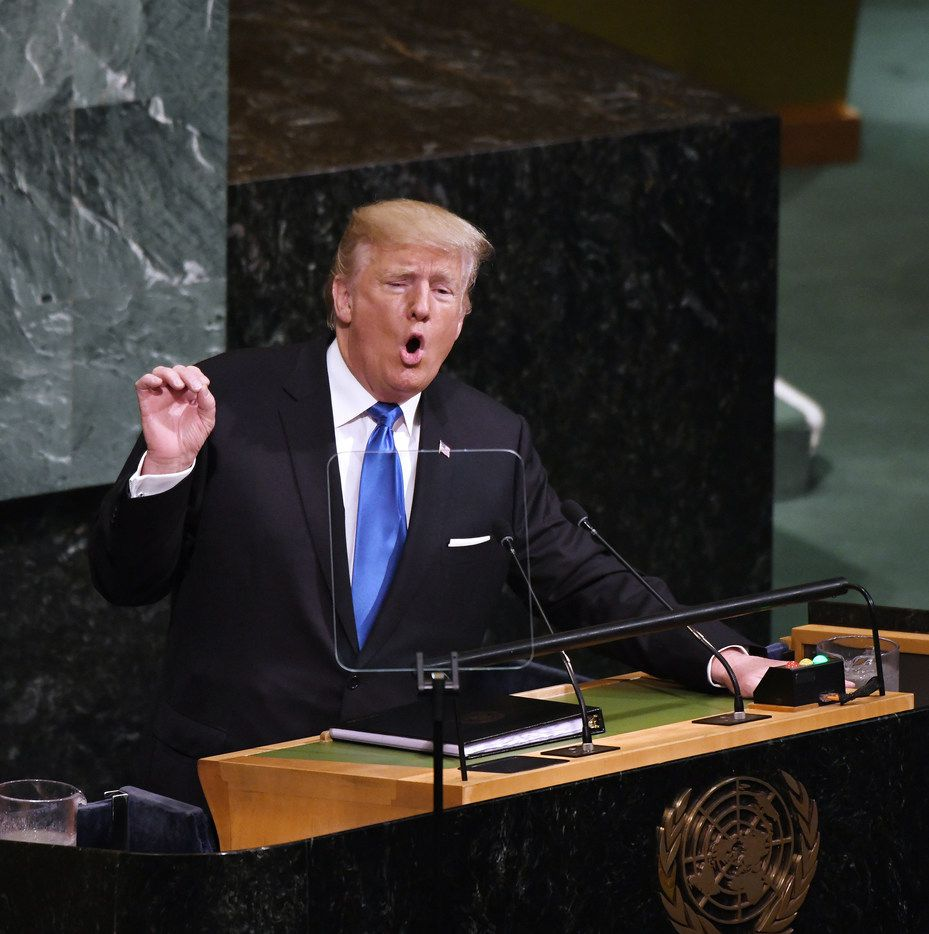 President Donald Trump addressed world leaders at the U.N. General Assembly in New York on Tuesday. (Olivier Douliery/Abaca Press)