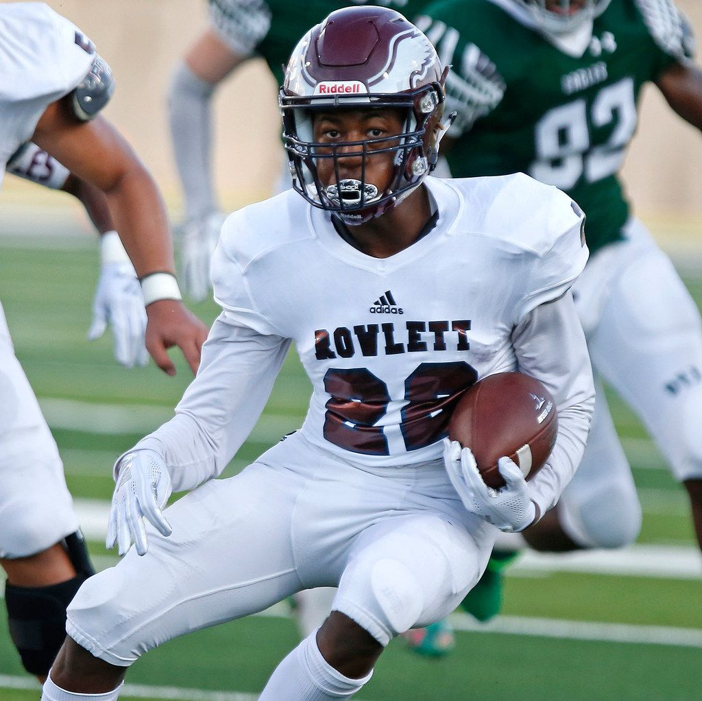 Rowlett High School running back Dwonyae Newton (22) carries the ball during the first half as Prosper High School hosted Rowlett High School in a non-district football game at Children's Health Stadium in Prosper on Friday, August 30, 2019. (Stewart F. House/Special Contributor)
