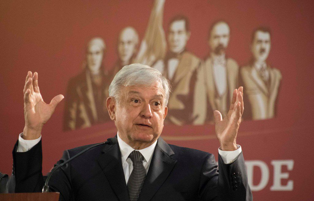 Mexico's President Andres Manuel Lopez Obrador holds his first news conference as president, which started at 7 a.m. local time in Mexico City, on Monday.