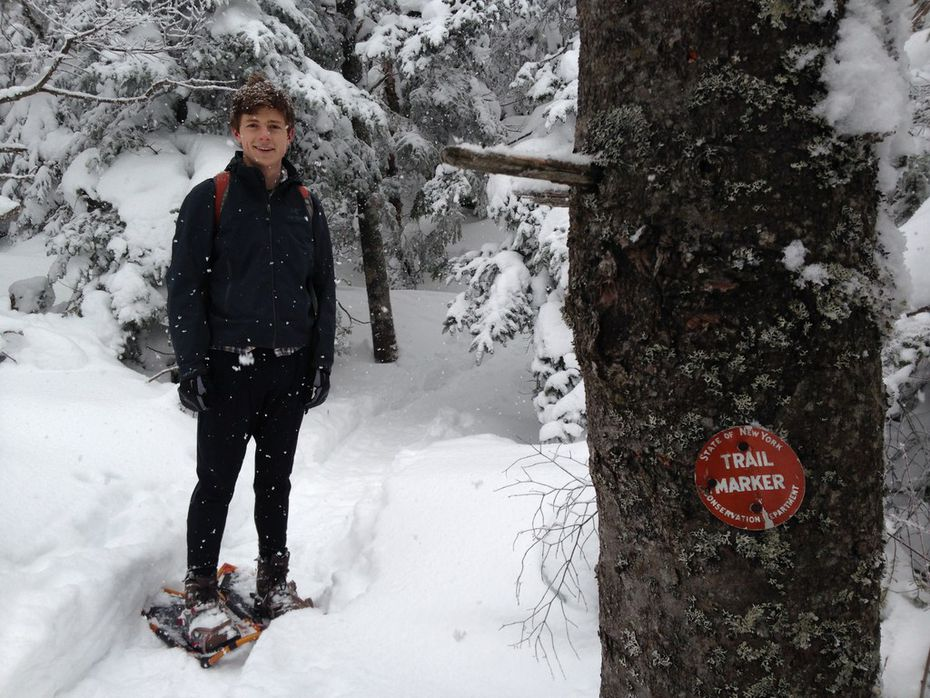 Jon snowshoeing in the Adirondacks in upstate New York. This picture was taken days before his concussion in February 2014.