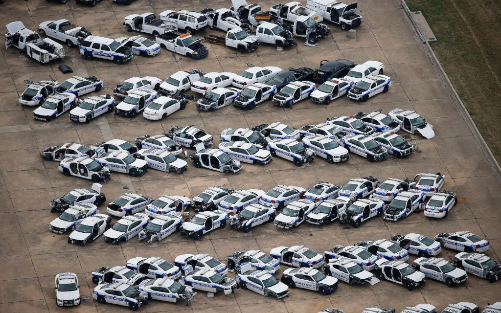 Old Dallas police cars are being stored at the former Hensley Field. (Vernon Bryant/Staff photographer)