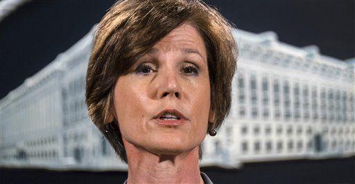 Foto tomada el 28 de junio del 2016 de la entonces subsecretaria de Justicia Sally Yates en conferencia de prensa en el Departamento de Justicia en Washington. (AP Photo/J. David Ake, File)