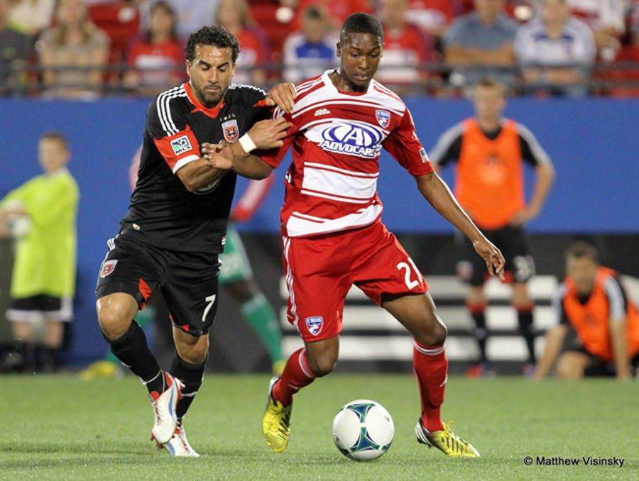 London Woodbury (right) plays for FC Dallas against DC United back in 2013.