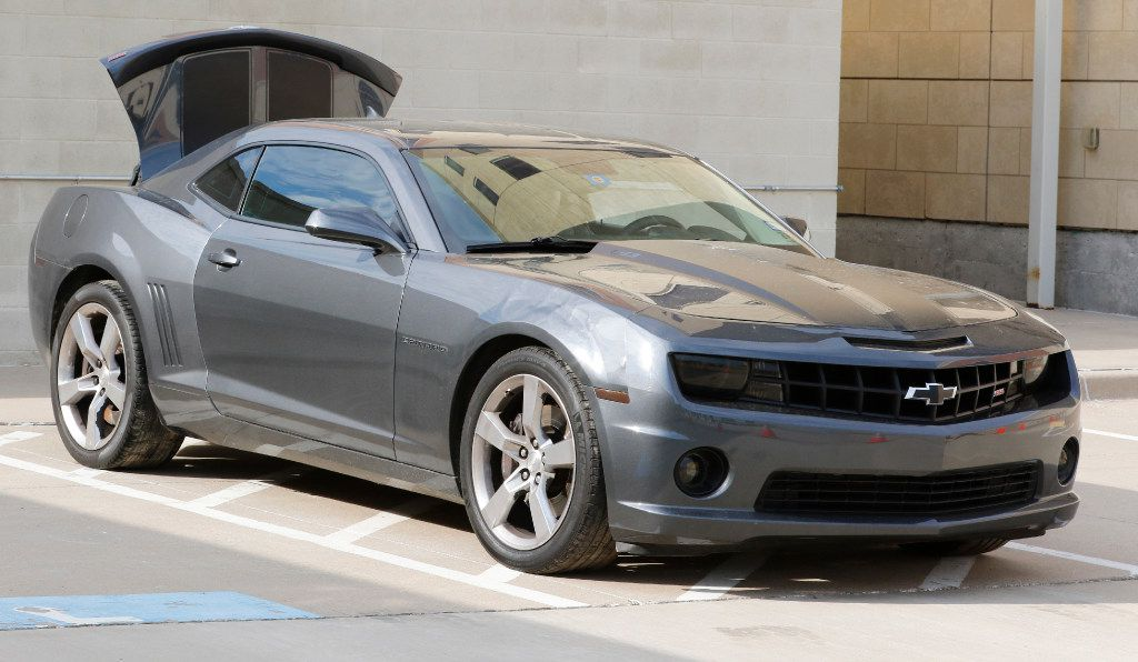 Enrique Arochi's 2010 Camaro was on display at the courthouse Friday for jurors.