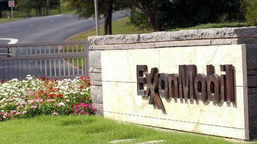 A sign marks the entrance of the secluded Exxon Mobil cooperate headquarters in Irving.