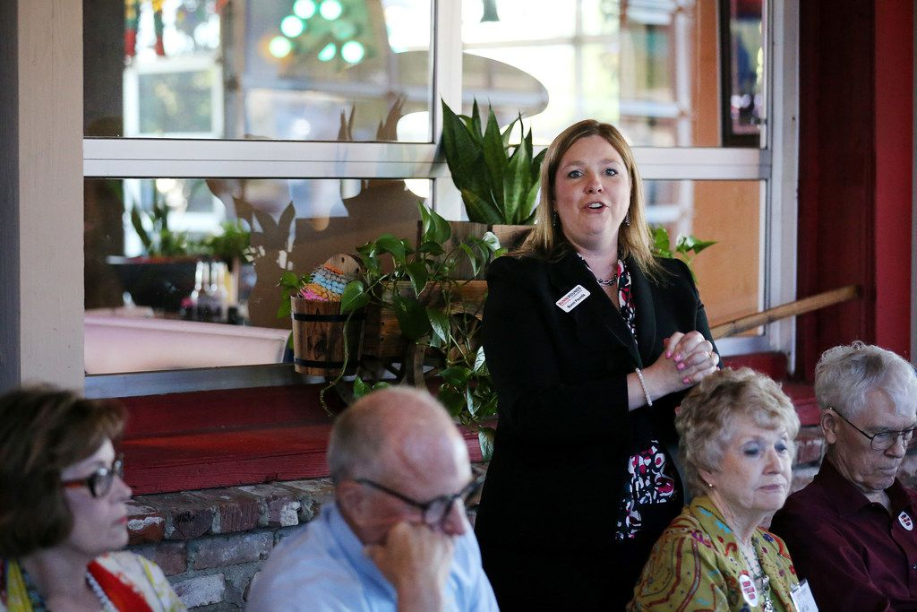 Bunni Pounds speaks during her campaign event at Cafe Del Rio in Mesquite. Pounds is running against Texas state representative Lance Gooden in a primary runoff election for the 5th Congressional seat be vacated by the retiring Jeb Hensarling. Pounds served as Hensarling's campaign manager and went on to start her own political consulting firm.