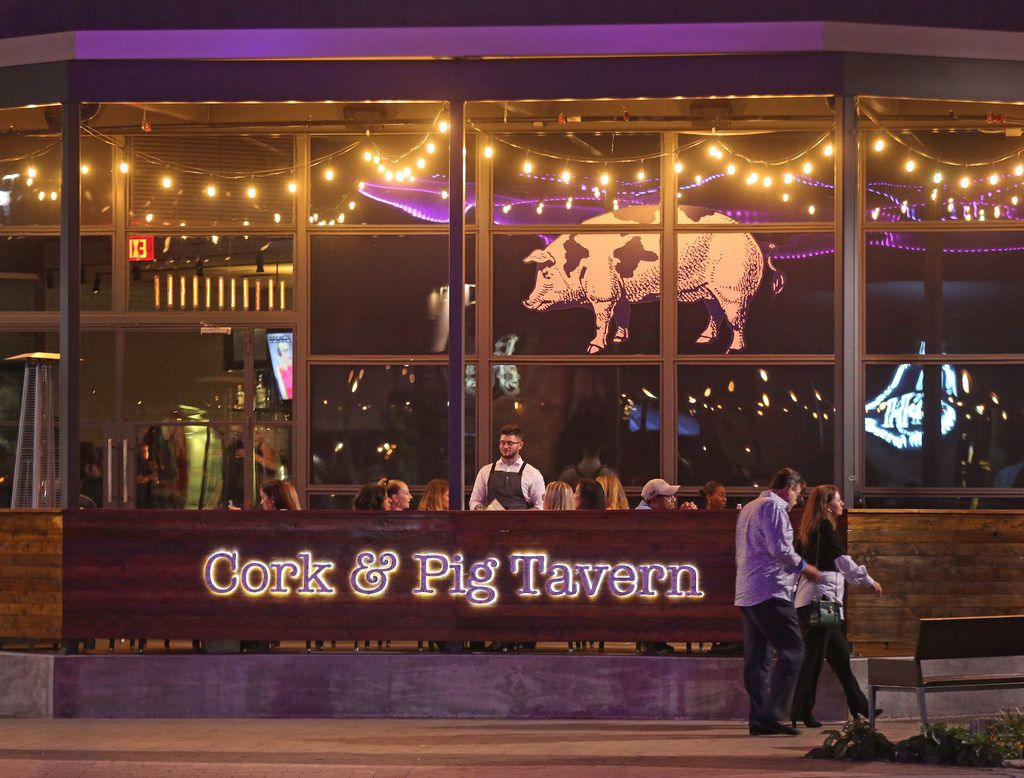 The Cork & Pig Tavern is at the intersection of Currie and Crockett streets