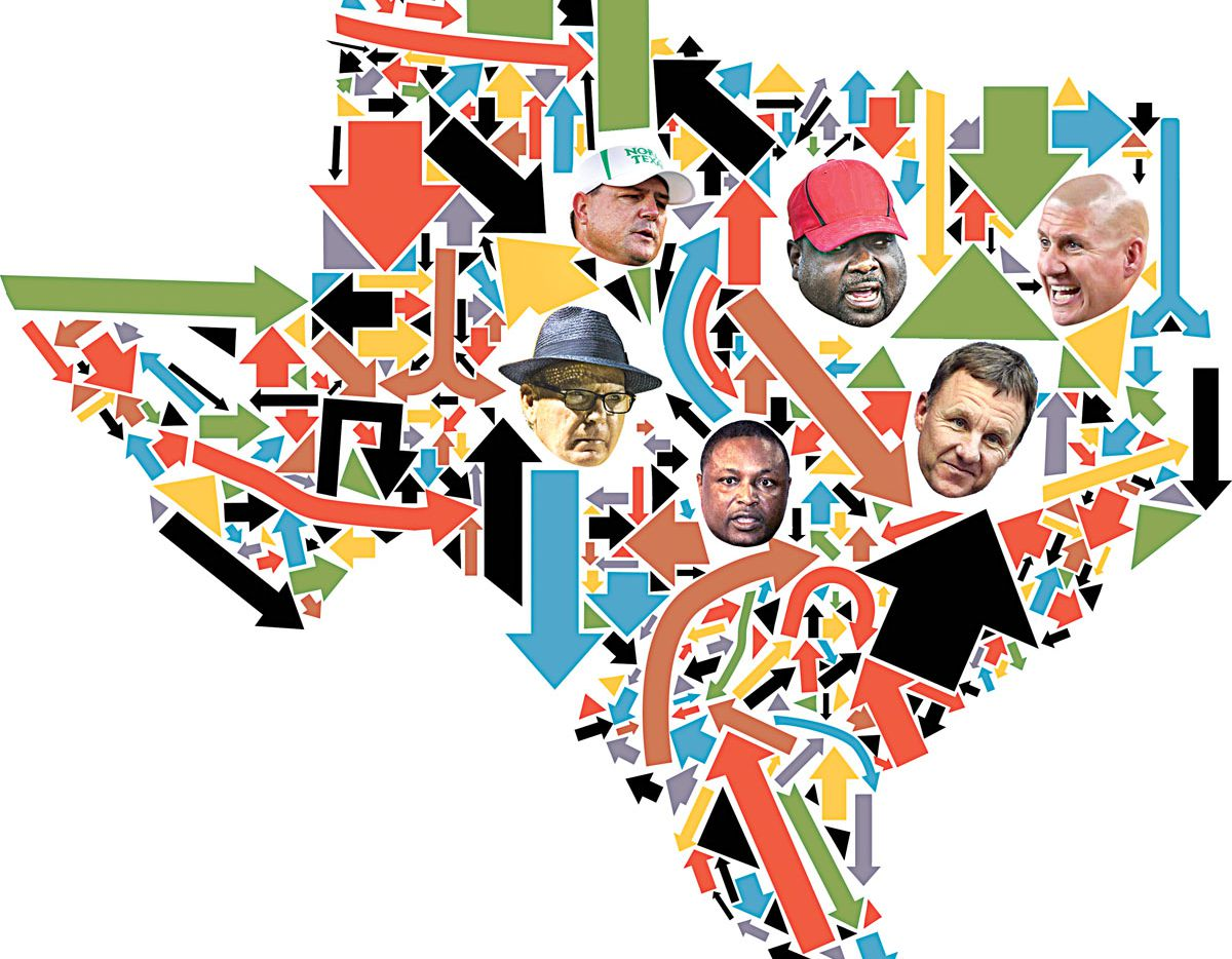 High school football coaches in Texas often have the opportunity to join the college ranks. But many choose not to. Coaches depicted, clockwise from left: Randy Allen (in fedora), Todd Dodge, Sadd Jackson, Bob Wager, Chad Morris and Claude Mathis. (Illustration by Michael Hogue/Staff artist)