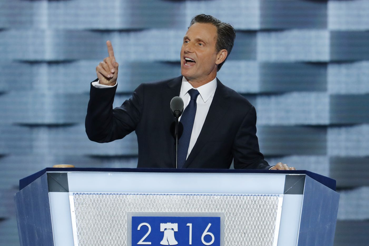 Actor Tony Goldwyn speaks during the second day of the Democratic National Convention.