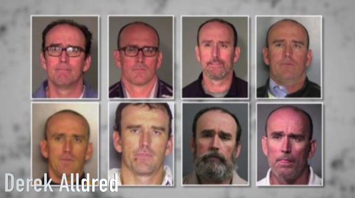 The many mugshots of Derek Alldred