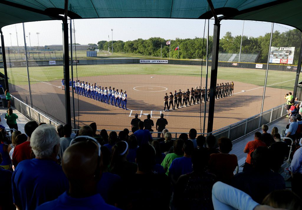 A general view of Dallas Charge Stadium during the national anthem prior to the Dallas Charge's inaugural game against the Pennsylvania Rebellion in McKinney, Tx. on Wednesday, June 3, 2015. (Michael Reaves/The Dallas Morning News)