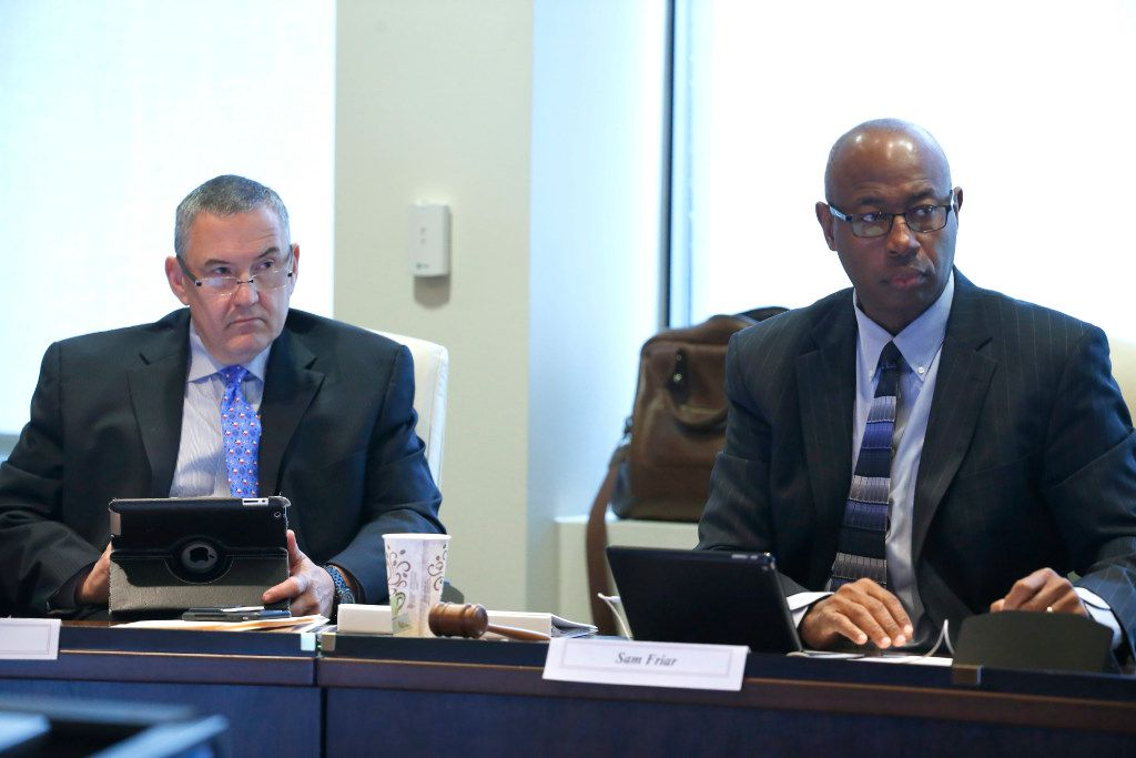 Pension board Chairman Sam Friar (right) and Vice Chairman Ken Haben (Jae S. Lee/Staff Photographer)
