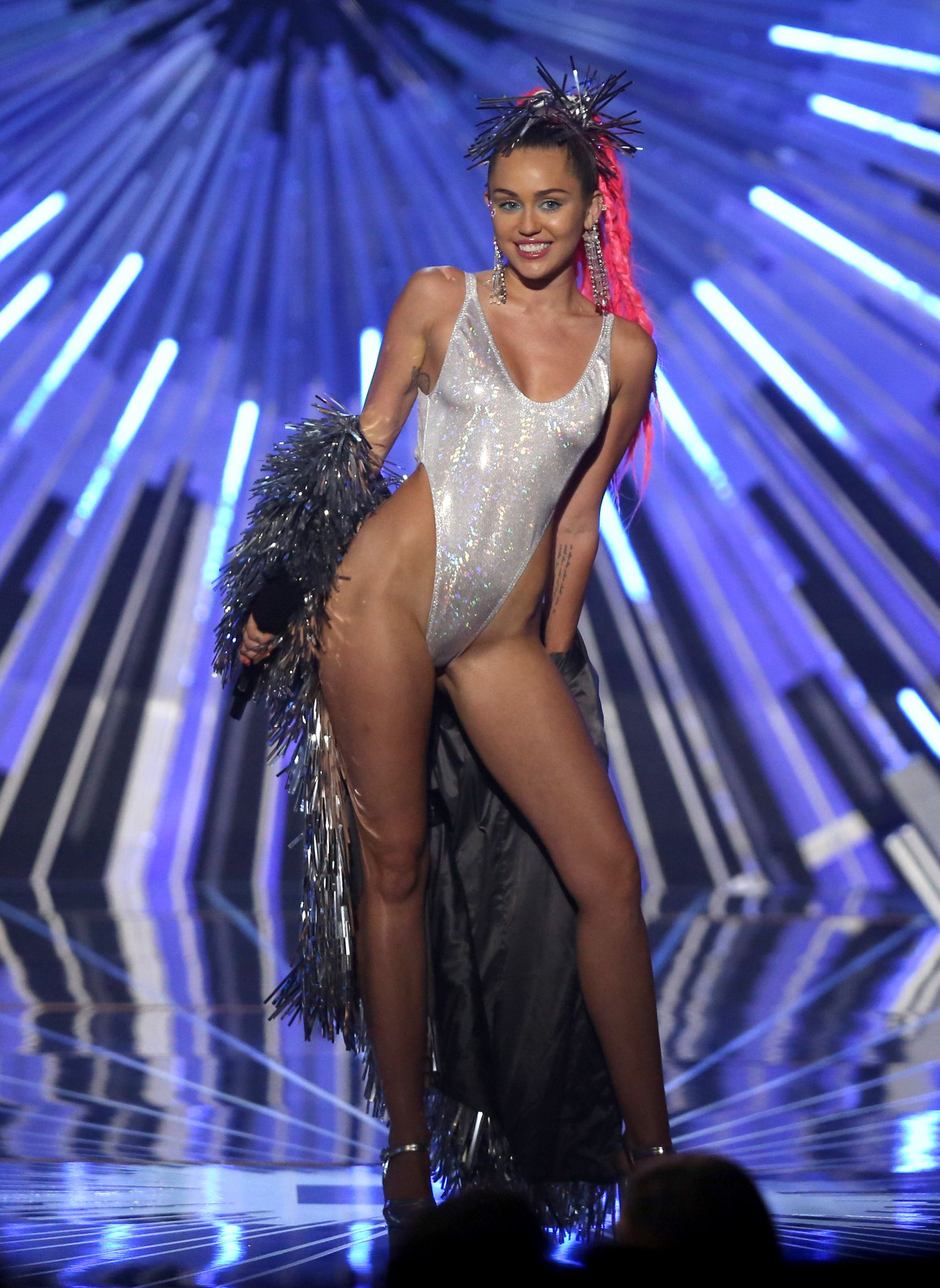 Host Miley Cyrus appears at the MTV Video Music Awards at the Microsoft Theater on Sunday, Aug. 30, 2015, in Los Angeles.