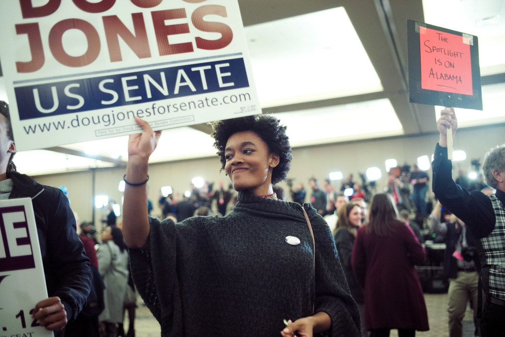 Supporters of Doug Jones, the Democratic candidate for U.S. Senate, celebrate his victory at an Election Night gathering in Birmingham, Ala., on Dec. 12, 2017. African-American voters played a crucial role in Jones' stunning upset win over Republican candidate Roy Moore.