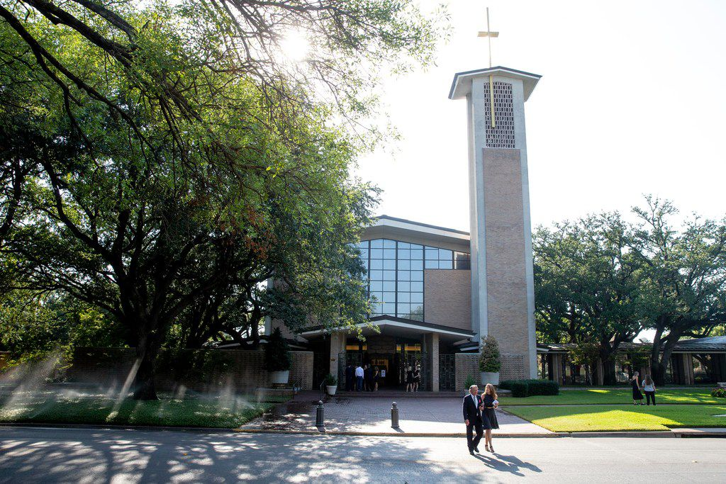 Mourners exit Saint Michael and All Angels Episcopal Church in Dallas following Sara HudsonÕs funeral on Monday, August 26, 2019. Hudson was on her way to celebrate her 22nd birthday. She never made it. She was found in a burning SUV just a few parking lots behind bars and restaurants on Lower Greenville Ave in Dallas.  Suspect Glen Richter, 49, has been booked into the Dallas County jail, charged with capital murder. (Shaban Athuman/Staff Photographer)