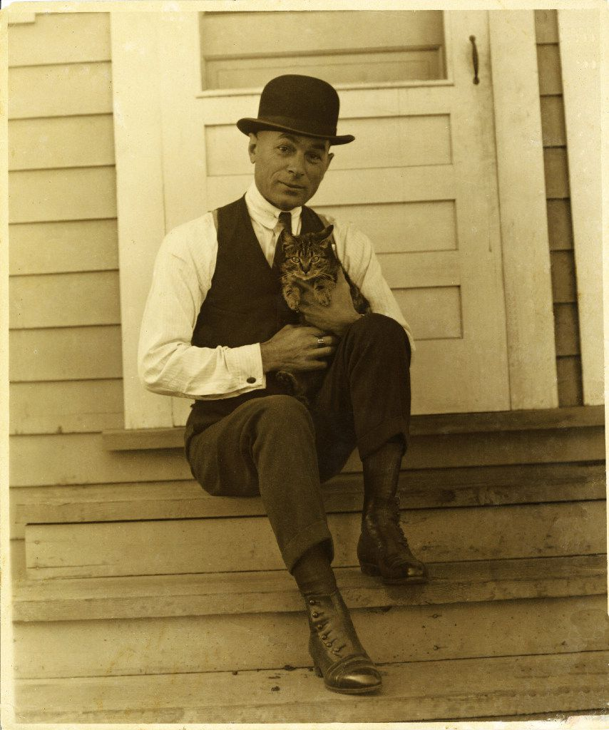 George Herriman and cat, circa 1922.   From  Krazy: George Herriman, a Life in Black and White, by Michael Tisserand.