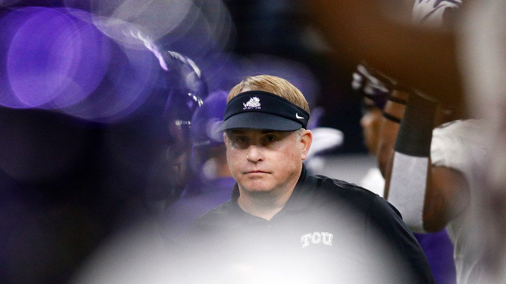 TCU Horned Frogs head coach Gary Patterson watches his team warm up before facing the Oklahoma Sooners in the Big XII Championship game at AT&T Stadium in Arlington, Texas, Saturday, December 2, 2017. (Tom Fox/The Dallas Morning News)