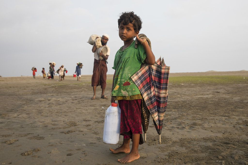 Desperate Rohingya continue to arrive by boat from Myanmar as land crossing becomes more difficult  on Shah Pari island, Cox's Bazar, Bangladesh. Nearly 400,000 Rohingya refugees have fled into Bangladesh since late August during the outbreak of violence in the Rakhine state.