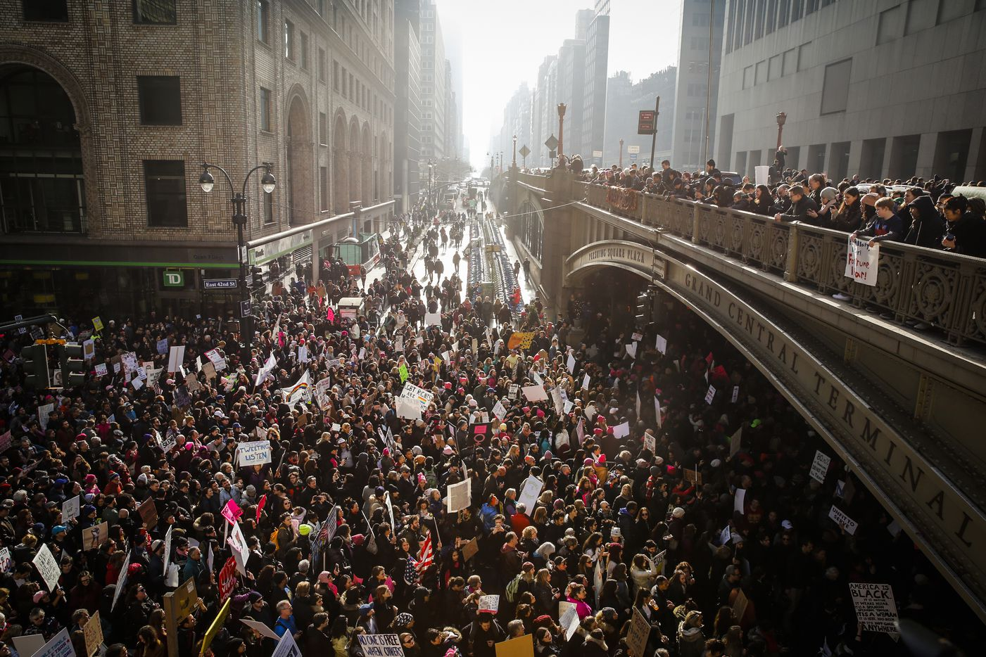 Demonstrators walk down 42nd Street toward Grand Central Terminal during the Women's March on New York, Jan. 21, 2017.