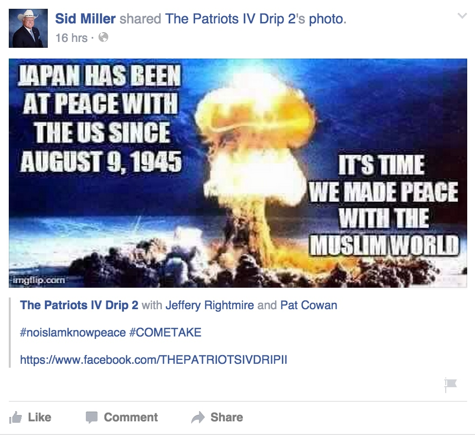 Sid Miller's Sunday night Facebook post.