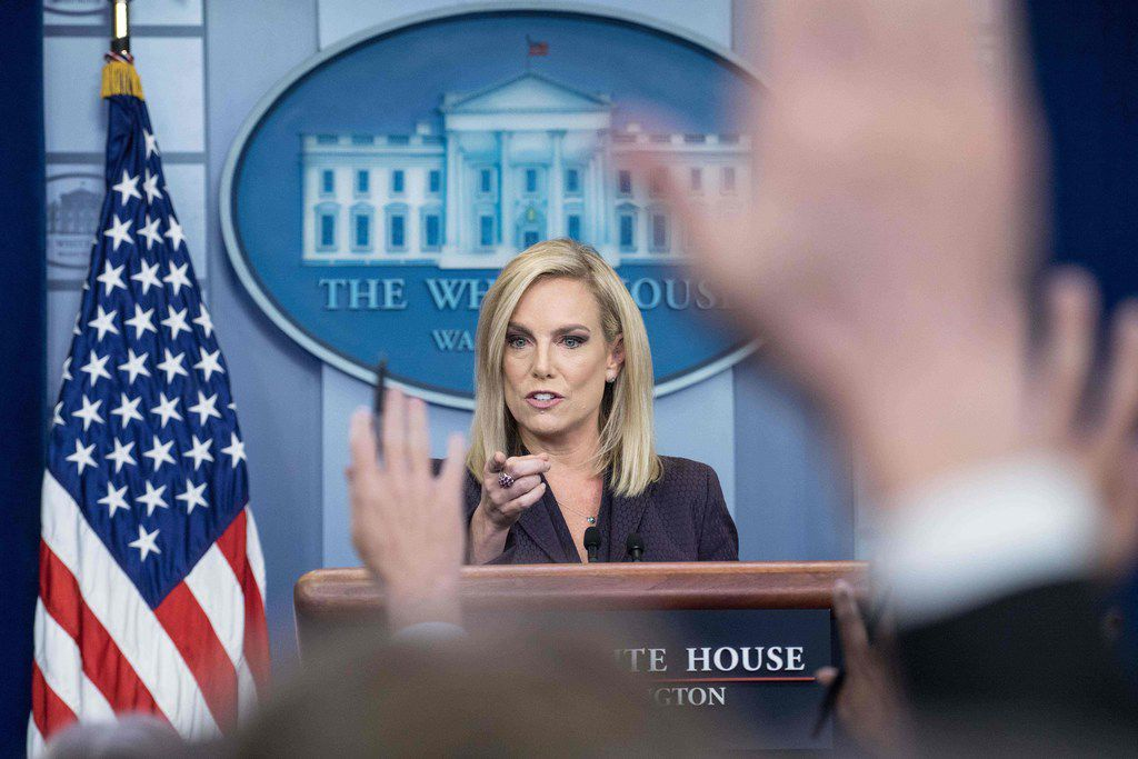 Homeland Security Secretary Kirstjen Nielsen speaks at a White House press briefing on April 4, 2018, about President Donald Trump's plans to send National Guard personnel to the Mexican border.