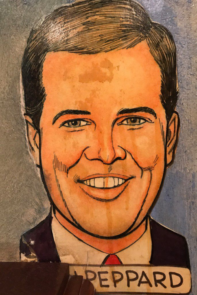 Dallas Morning News staff writer Alan Peppard's caricature on the wall of the Palm in Dallas' West End. During a 1990s remodel, a new booth was installed that concealed his first name.