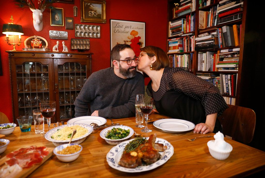 Husband and wife owners of Lucia restaurant, David and Jennifer Uygur, prepare a Valentine's dinner at their North Oak Cliff home in Dallas.