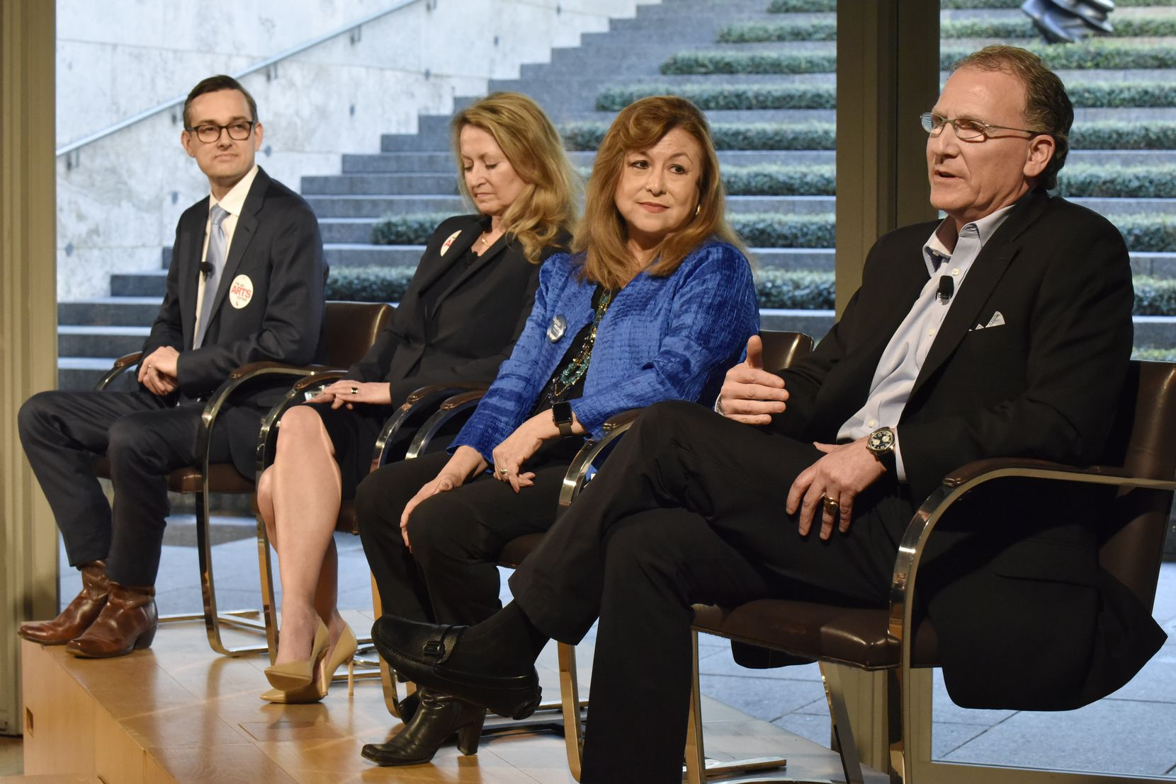 Mayoral candidates Scott Griggs (from left) Lynn McBee, Regina Montoya and Mike Ablon spoke about the issues facing the Dallas arts community at the Nasher Sculpture Center on Monday.