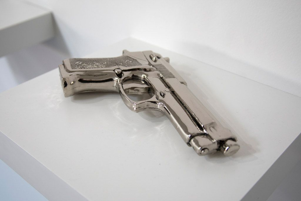 "Shelter Serra ""Fake Gun (Nickel)"" electroplated cast resin."